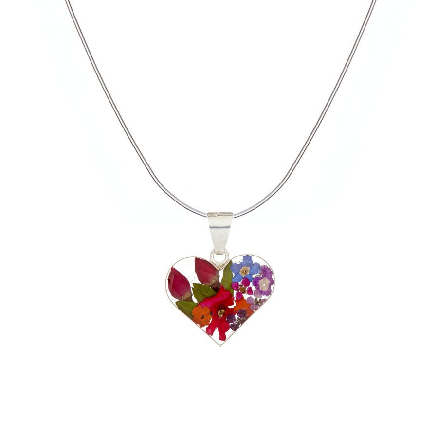 Garden Mexican Flowers Small Heart Pendant Necklace