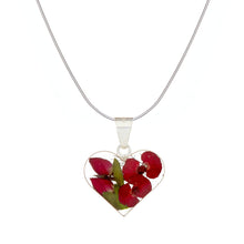 Load image into Gallery viewer, Red Mexican Flowers Small Heart Necklace
