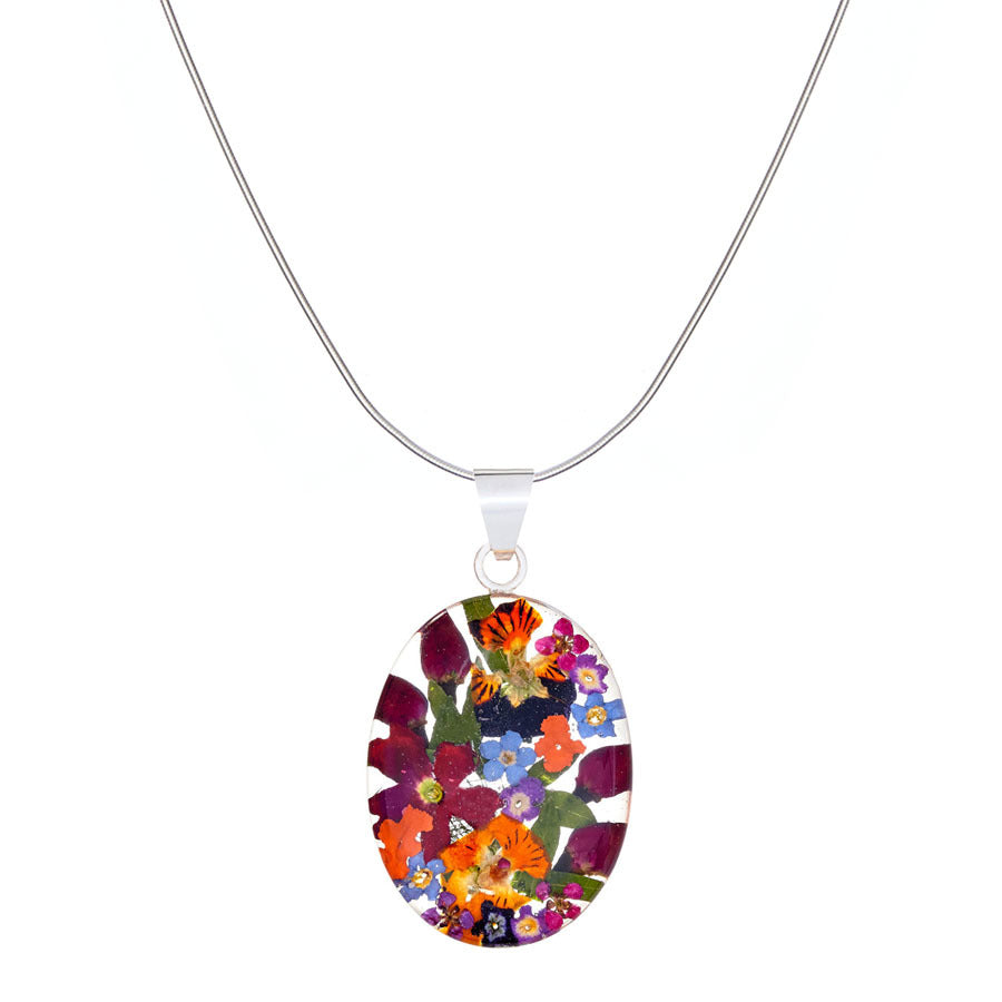 Garden Mexican Flowers Small Oval Pendant Necklace