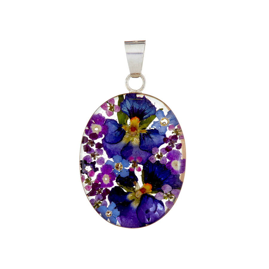 Purple and Blue Mexican Flowers Large Oval Pendant Necklace