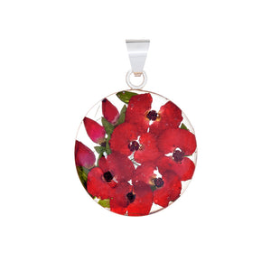 Red Mexican Flowers Small Round Necklace