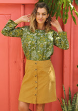 Load image into Gallery viewer, Cord Skirt with Buttons in Mustard