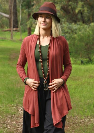 Long Sleeve Stretch Cardi - Terracotta