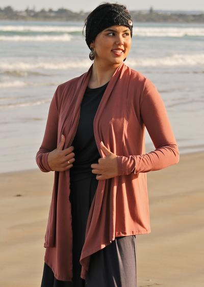 Long Sleeve Stretch Cardi - Salmon