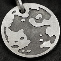 Detail view of Sterling Silver Journey pendant featuring the Map of Humanity as outward journey as outward journey by Caps Brothers