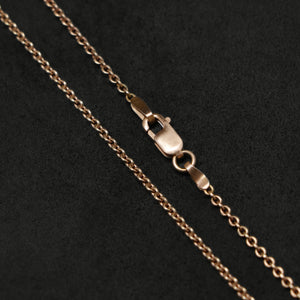 Chain closeup of Journey 18K Rose Gold necklace with clasp by Caps Brothers