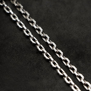 Chain closeup of Code of Integrity sterling silver chain with endless loop necklace by Caps Brothers