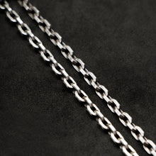 Load image into Gallery viewer, Chain closeup of Code of Power sterling silver chain with endless loop necklace by Caps Brothers