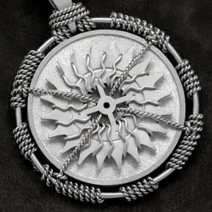 Detail view of Platinum 950 Sewn Platinum Metal Compass pendant featuring 20 pointed gear by Caps Brothers