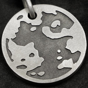 Detail view of Sterling Silver Journey pendant featuring the Map of Humanity as outward journey by Caps Brothers