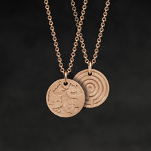 Load image into Gallery viewer, Hanging view of 18K Rose Gold Journey pendant and chain necklace featuring the Map of Humanity as outward journey and labyrinth as inward journey by Caps Brothers