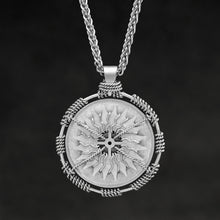 Load image into Gallery viewer, Hanging front view of Platinum 950 Sewn Platinum Metal Compass pendant and chain with endless loop necklace featuring 20 pointed gear by Caps Brothers