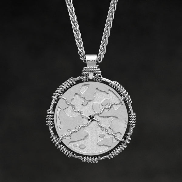 Hanging reverse view of Platinum 950 Sewn Platinum Metal Compass pendant and chain with endless loop necklace featuring Map of Humanity by Caps Brothers
