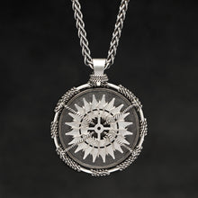 Load image into Gallery viewer, Hanging front view of Sterling Silver and 18K Palladium White Gold Accents Sewn Silver Metal Compass pendant and chain with endless loop necklace featuring 20 pointed gear by Caps Brothers