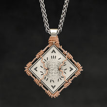 Load image into Gallery viewer, Hanging reverse view of 18K Rose Gold and 18K Palladium White Gold and Sterling Silver Sewn Gold Metal Confidence pendant and chain with endless loop necklace featuring Electromagnetic Field and Cardinal Directions by Caps Brothers