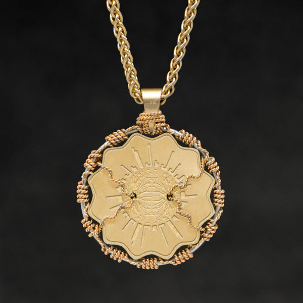Hanging reverse view of 18K Yellow Gold and 18K Palladium White Gold Sewn Gold Metal Majesty pendant and chain with endless loop necklace featuring Electromagnetic Field by Caps Brothers