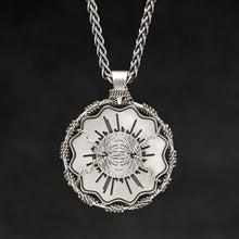 Load image into Gallery viewer, Hanging reverse view of Sterling Silver and 18K Palladium White Gold Accents Sewn Silver Metal Majesty pendant and chain with endless loop necklace featuring Electromagnetic Field by Caps Brothers