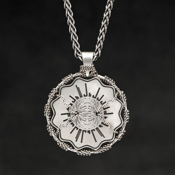 Hanging reverse view of Sterling Silver and 18K Palladium White Gold Accents Sewn Silver Metal Majesty pendant and chain with endless loop necklace featuring Electromagnetic Field by Caps Brothers