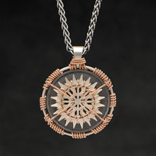 Load image into Gallery viewer, Hanging front view of 18K Rose Gold and 18K Palladium White Gold and Sterling Silver Sewn Silver Metal Sun pendant and chain with endless loop necklace featuring 20 pointed gear by Caps Brothers