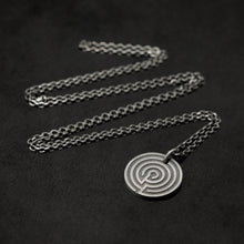 Load image into Gallery viewer, Laying down Sterling SilverJourney pendant and chain with endless loop necklace featuring labyrinth as inward journey by Caps Brothers