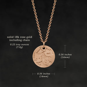 Weights and measures and schematic drawing of 18K Rose Gold Journey pendant and chain necklace featuring the Map of Humanity as outward journey by Caps Brothers