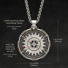 Load image into Gallery viewer, Weights and measures and schematic drawing of Sterling Silver and 18K Palladium White Gold Accents Sewn Silver Metal Compass pendant and chain with endless loop necklace featuring 20 pointed gear by Caps Brothers