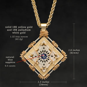 Weights and measures and schematic drawing of 18K Yellow Gold and 18K Palladium White Gold and Sapphire Sewn Gold Metal Confidence pendant and chain with endless loop necklace featuring 4 pointed gear by Caps Brothers