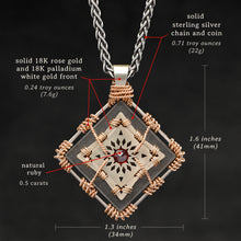 Load image into Gallery viewer, Weights and measures and schematic drawing of 18K Rose Gold and 18K Palladium White Gold and Sterling Silver and Ruby Sewn Gold Metal Confidence pendant and chain with endless loop necklace featuring 4 pointed gear by Caps Brothers