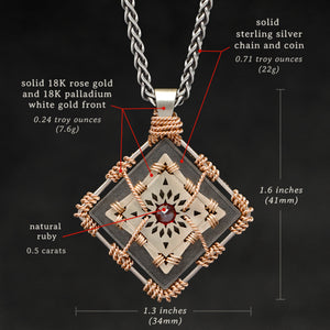 Weights and measures and schematic drawing of 18K Rose Gold and 18K Palladium White Gold and Sterling Silver and Ruby Sewn Gold Metal Confidence pendant and chain with endless loop necklace featuring 4 pointed gear by Caps Brothers