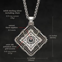 Load image into Gallery viewer, Weights and measures and schematic drawing of Sterling Silver and 18K Palladium White Gold Accents and Black Sapphire Sewn Silver Metal Confidence pendant and chain with endless loop necklace featuring 4 pointed gear by Caps Brothers