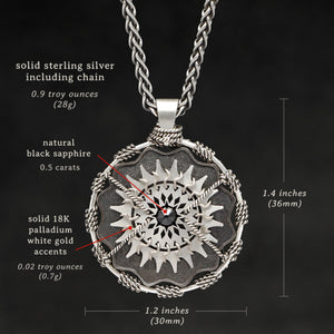 Weights and measures and schematic drawing of Sterling Silver and 18K Palladium White Gold Accents and Black Sapphire Sewn Silver Metal Majesty pendant and chain with endless loop necklace featuring 20 pointed gear by Caps Brothers
