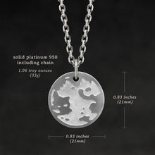 Load image into Gallery viewer, Weights and measures and schematic drawing of Platinum 950 Journey pendant and chain with endless loop necklace featuring the Map of Humanity as outward journey by Caps Brothers
