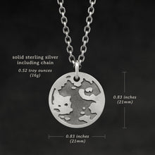 Load image into Gallery viewer, Weights and measures and schematic drawing of Platinum Sterling Silver pendant and chain with endless loop necklace featuring the Map of Humanity as outward journey by Caps Brothers