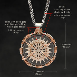 Weights and measures and schematic drawing of 18K Rose Gold and 18K Palladium White Gold and Sterling Silver Sewn Silver Metal Sun pendant and chain with endless loop necklace featuring 20 pointed gear by Caps Brothers