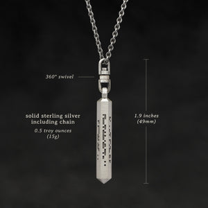 Weights and measures and schematic drawing of Code of Wisdom hexagonal sterling silver pendant and chain with endless loop necklace featuring Binary Code by Caps Brothers