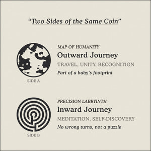 Translation Card for Journey necklace featuring the Map of Humanity as outward journey and labyrinth as inward journey by Caps Brothers