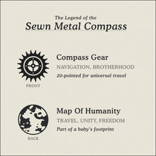 Load image into Gallery viewer, Translation Card for Sewn Metal Compass necklace featuring 20 pointed gear and Map of Humanity by Caps Brothers