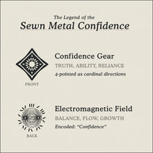 Load image into Gallery viewer, Translation Card for Sewn Metal Confidence necklace featuring 4 pointed gear and Electromagnetic Field by Caps Brothers