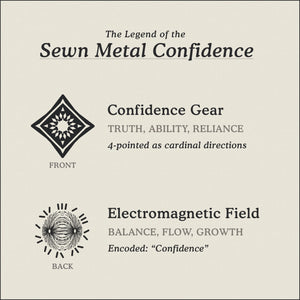 Translation Card for Sewn Metal Confidence necklace featuring 4 pointed gear and Electromagnetic Field by Caps Brothers