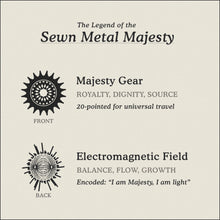 Load image into Gallery viewer, Translation Card for Sewn Metal Majesty necklace featuring 20 pointed gear and Electromagnetic Field by Caps Brothers