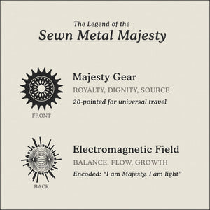 Translation Card for Sewn Metal Majesty necklace featuring 20 pointed gear and Electromagnetic Field by Caps Brothers