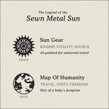 Load image into Gallery viewer, Translation Card for Sewn Metal Sun necklace featuring 20 pointed gear and Map of Humanity by Caps Brothers