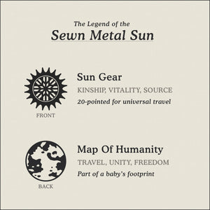 Translation Card for Sewn Metal Sun necklace featuring 20 pointed gear and Map of Humanity by Caps Brothers