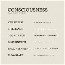 Load image into Gallery viewer, Translation Card for Code of Consciousness necklace from English to Dashless Morse Code by Caps Brothers