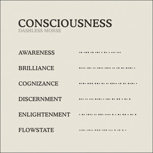Translation Card for Code of Consciousness necklace from English to Dashless Morse Code by Caps Brothers