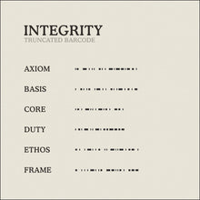 Load image into Gallery viewer, Translation Card for Code of Integrity necklace from English to Truncated Barcode by Caps Brothers
