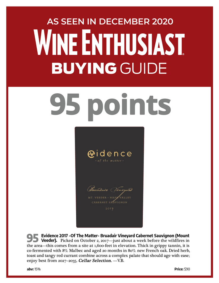 Evidence <br> - of the matter - <br> 2017 Mt. Veeder Cabernet Sauvignon