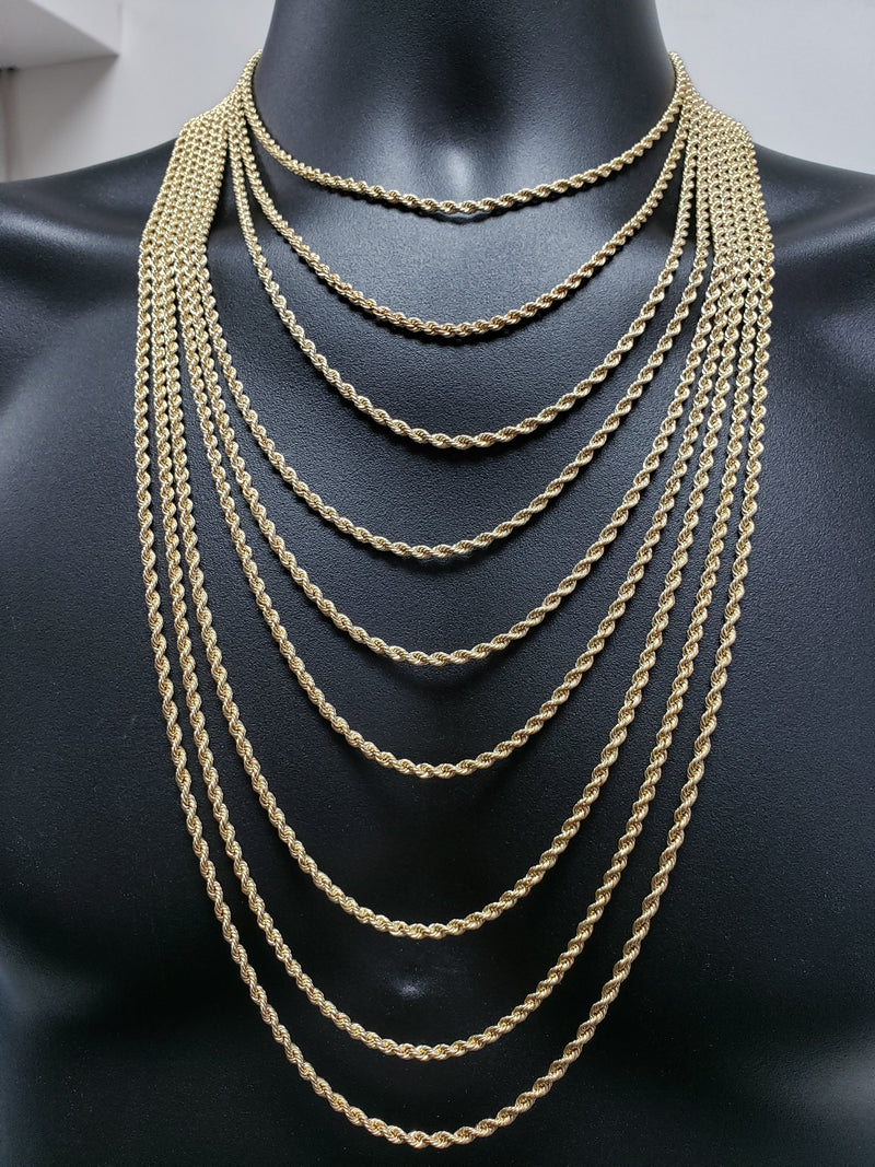 10K Rope Chain for Him 3mm in Yellow Gold | Chaine en or jaune 10 kt 3mm pour homme-Gold Custom