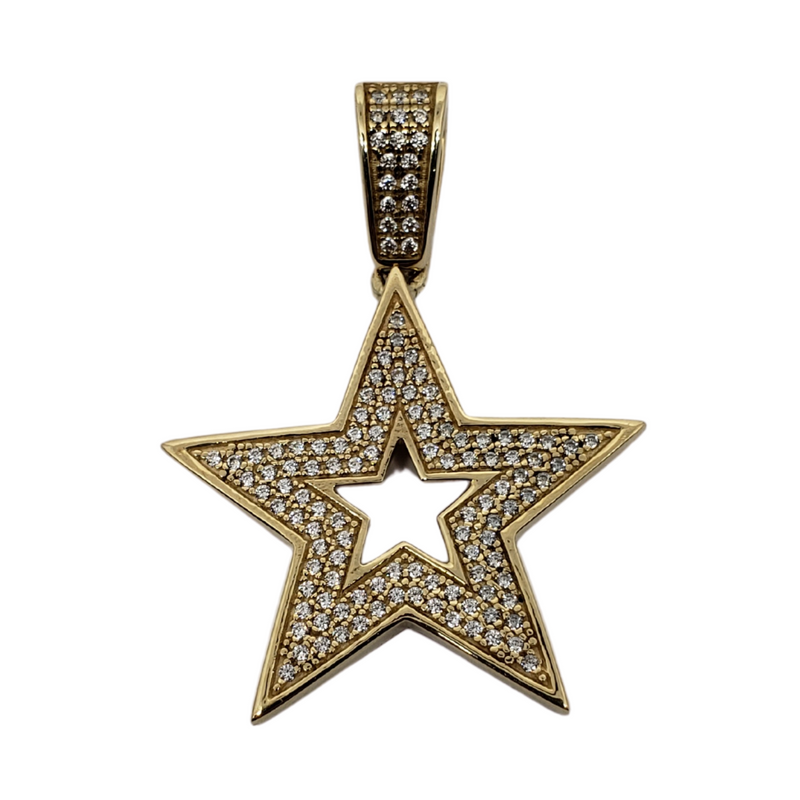 10K Yellow Gold Star Pendants MP-001