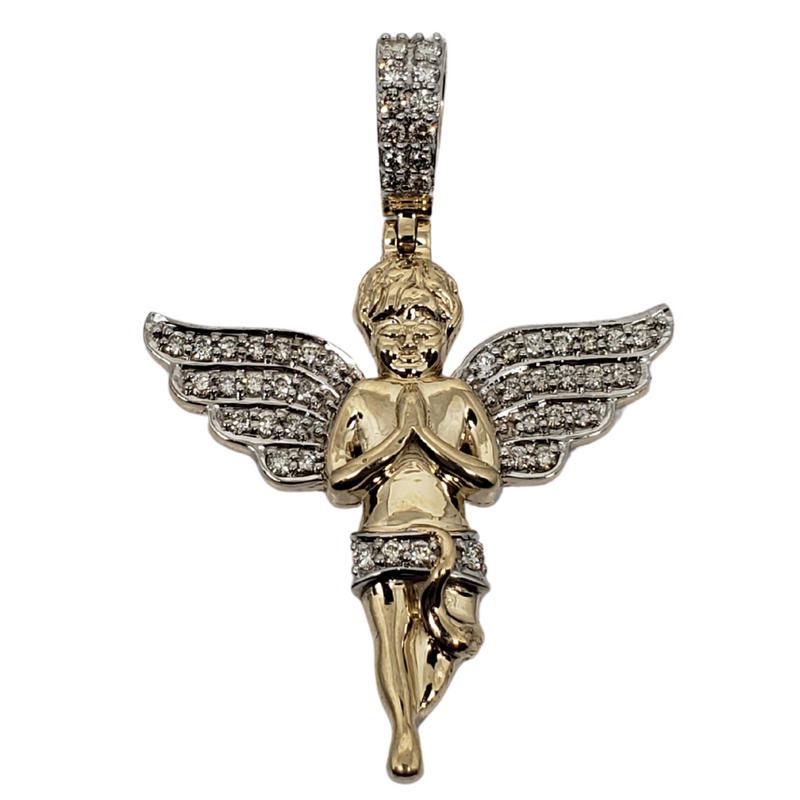 Angel 0.77ct Gold Pendant in 10k Gold SP 10474